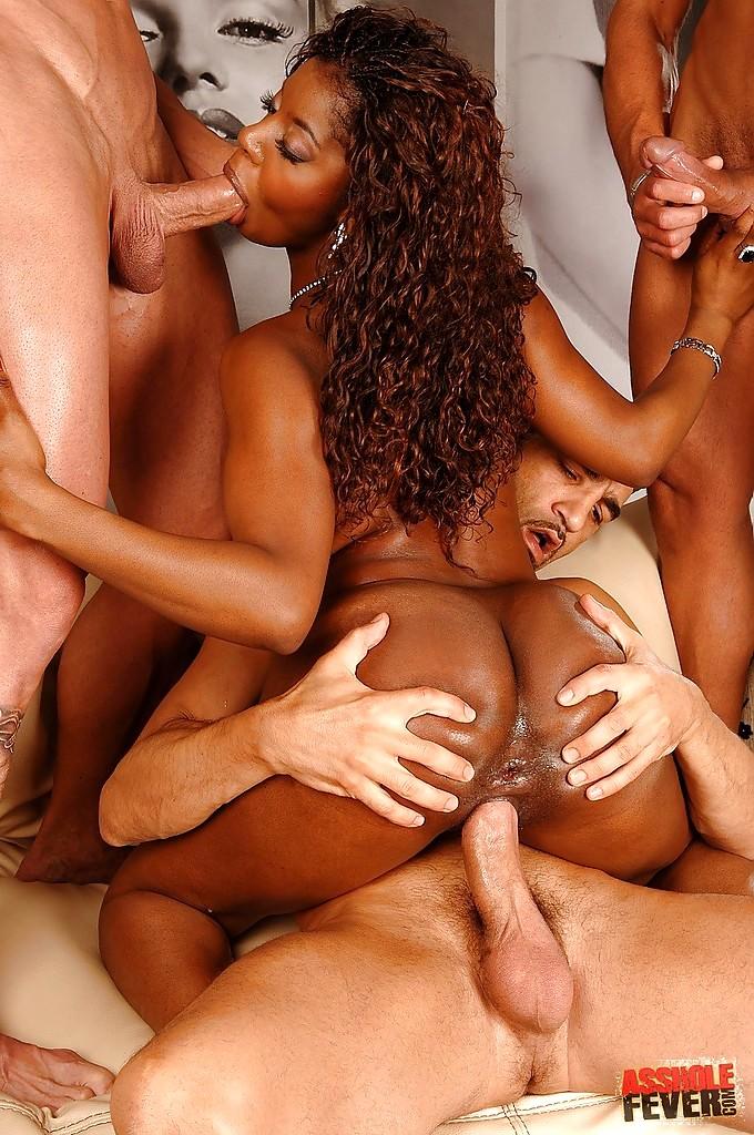 Ebony triple penetration gangbang