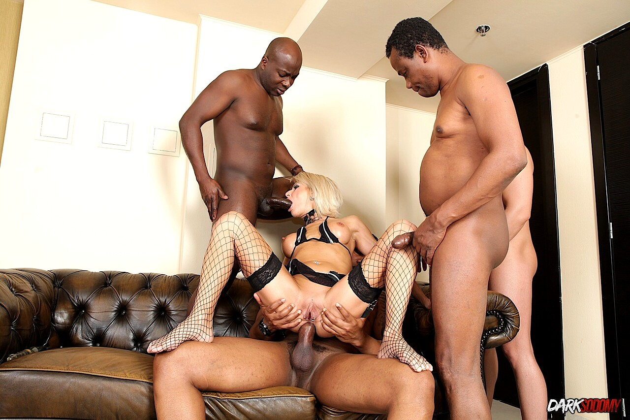 Cathy inez enjoys an interracial double penetration gangbang
