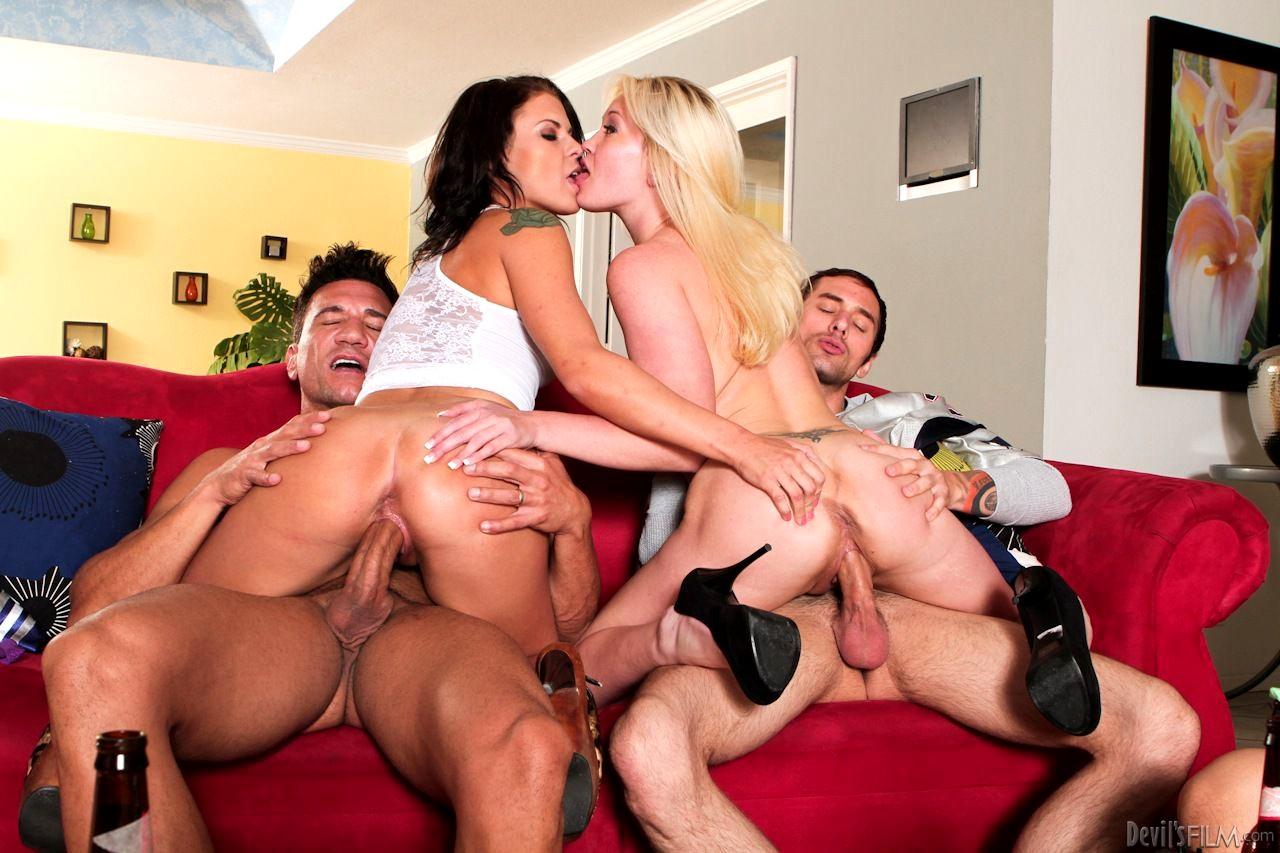 Hot interracial foursome with big cocks