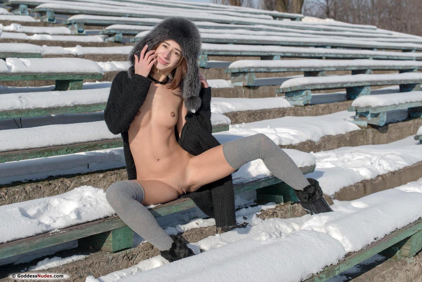 Teen brunette very skinny naked