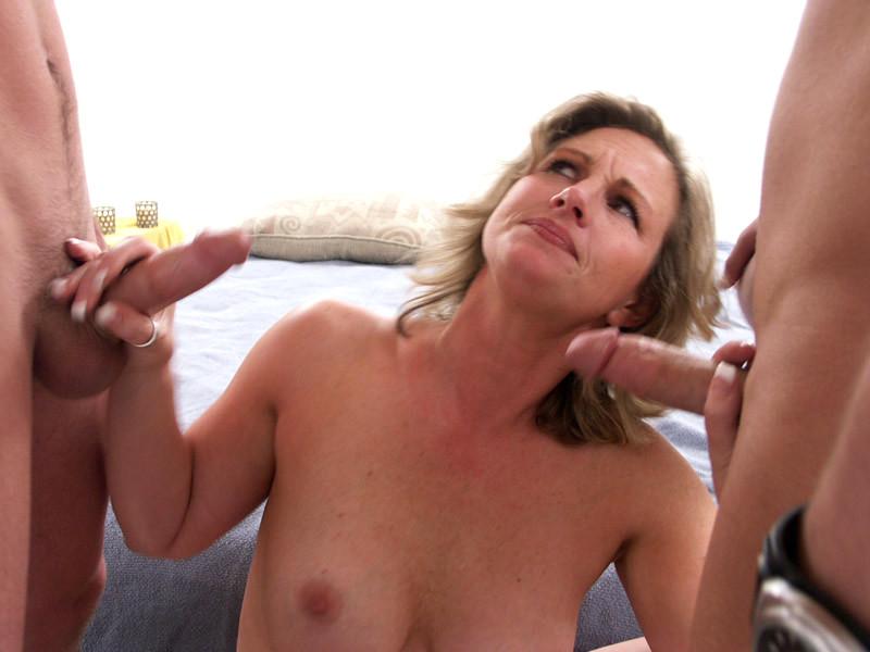 Foxy blonde sucking cock