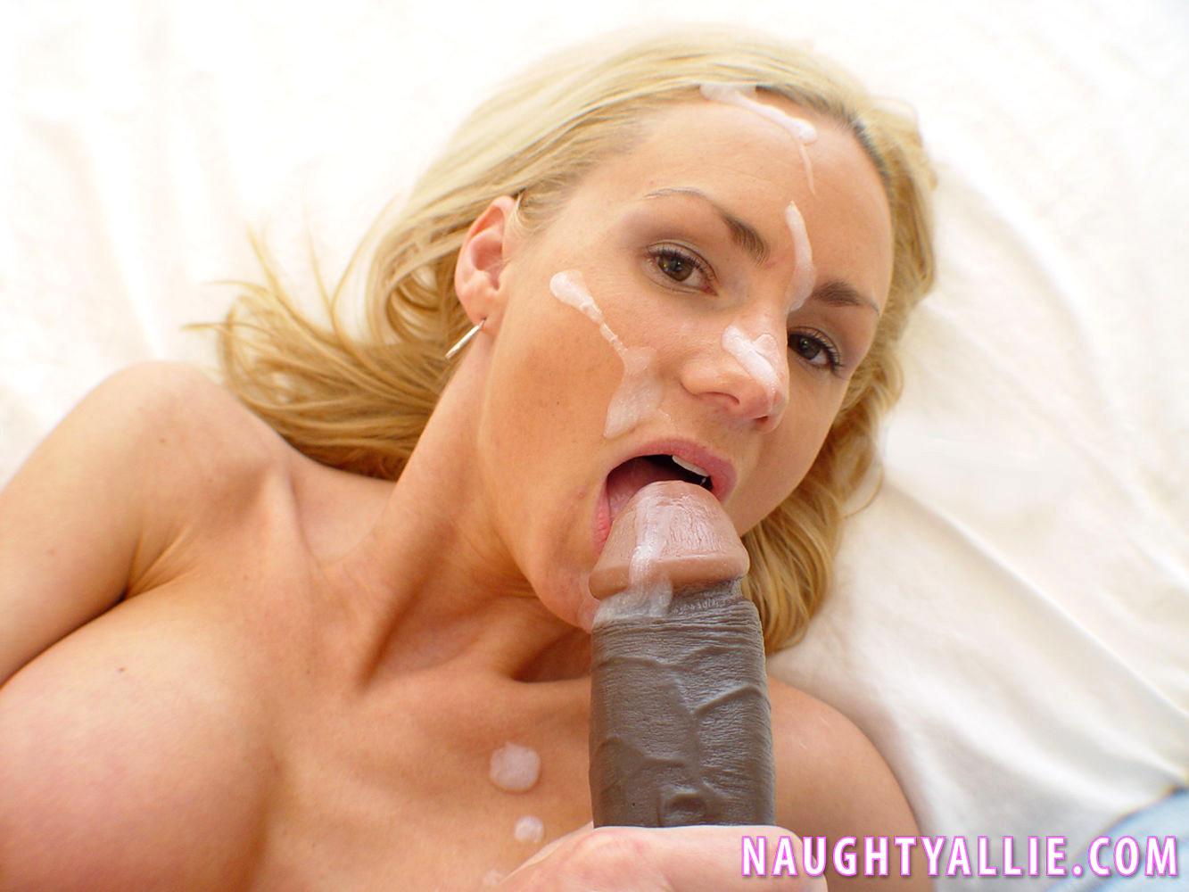 Busty naughty allie sucks her first black cock