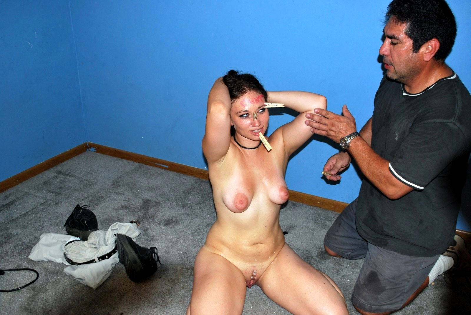 Stripped naked humiliation in public