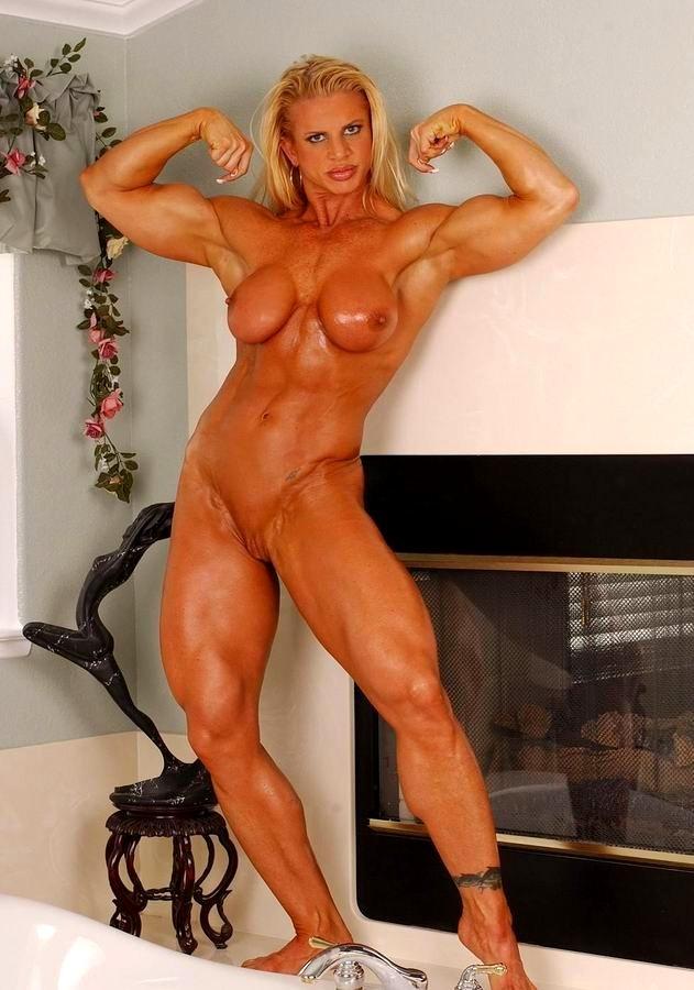 Blonde muscle goddess sexy bikini strip tease
